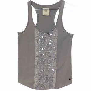 HOLLISTER Tank top silver gray embellished